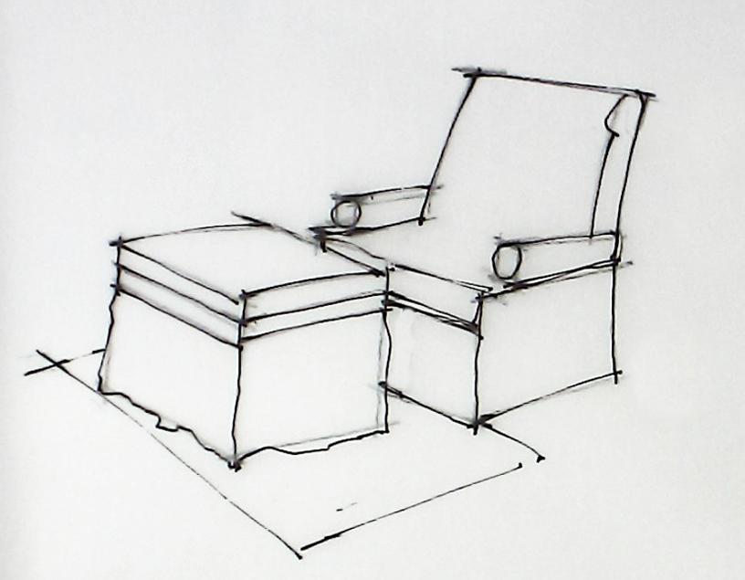 2,根据上述的两点透视的原理,画出小场景中茶几与沙发的轮廓.