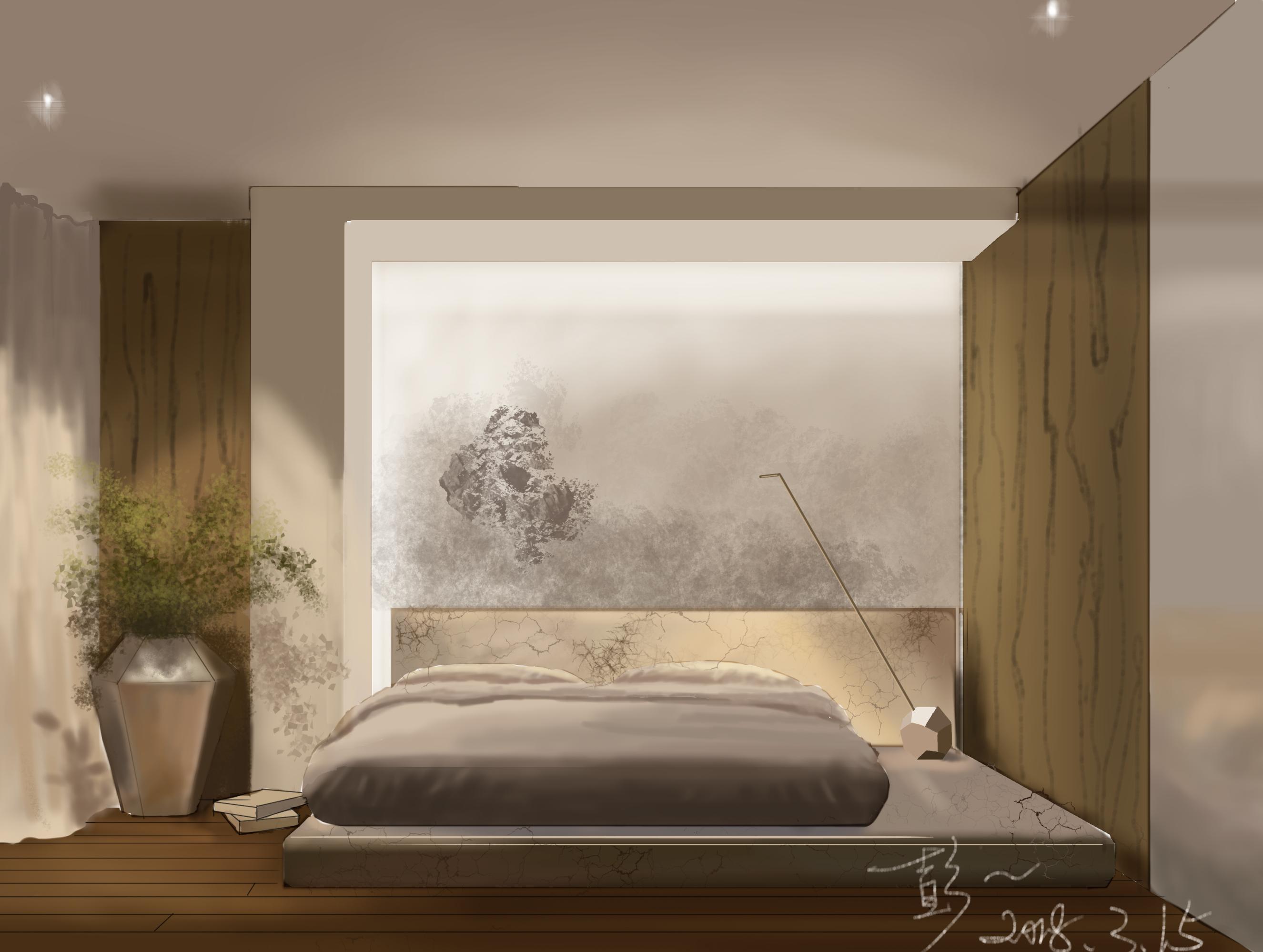 室内手绘上色客厅