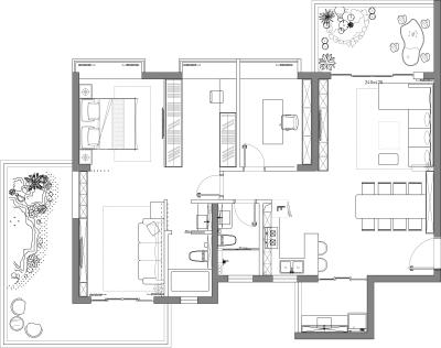 休闲聚会郊区平层方案设计