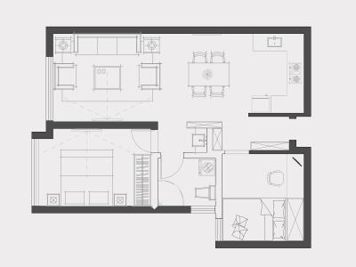 方案设计---云南映象B区 2室2厅