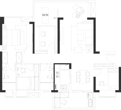 方案---长沙嘉宇北部湾6栋-4室2厅